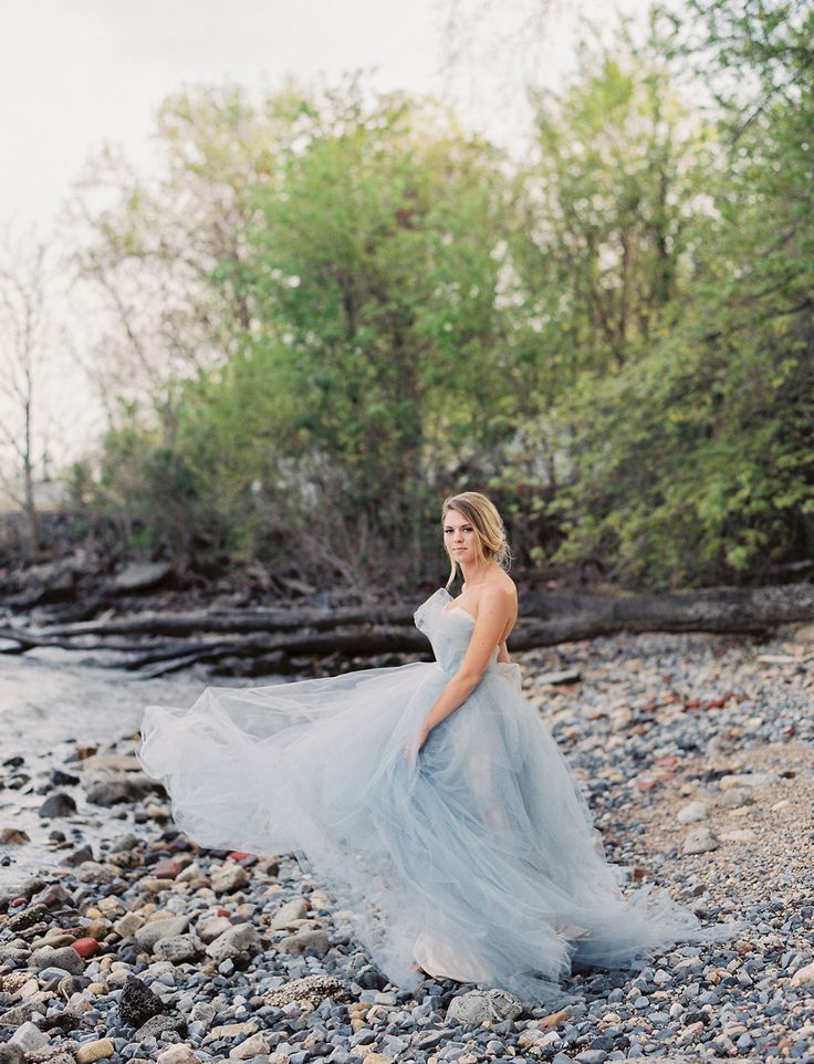 East Made Event Company Maryland Coastal Inspiration Styled Shoot as featured on Green Wedding Shoes. Photo by CJK Visuals, Blue Oceane Wedding Dress Gown by Carol Hannah. Beach wedding inspiration.