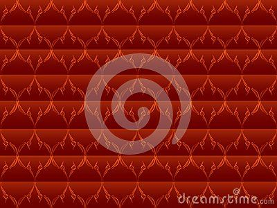 Floral design blend of lines and dots of background color horizontal lines dark red brick, leaf / flower / plant design / ornament with bright red brick gradation