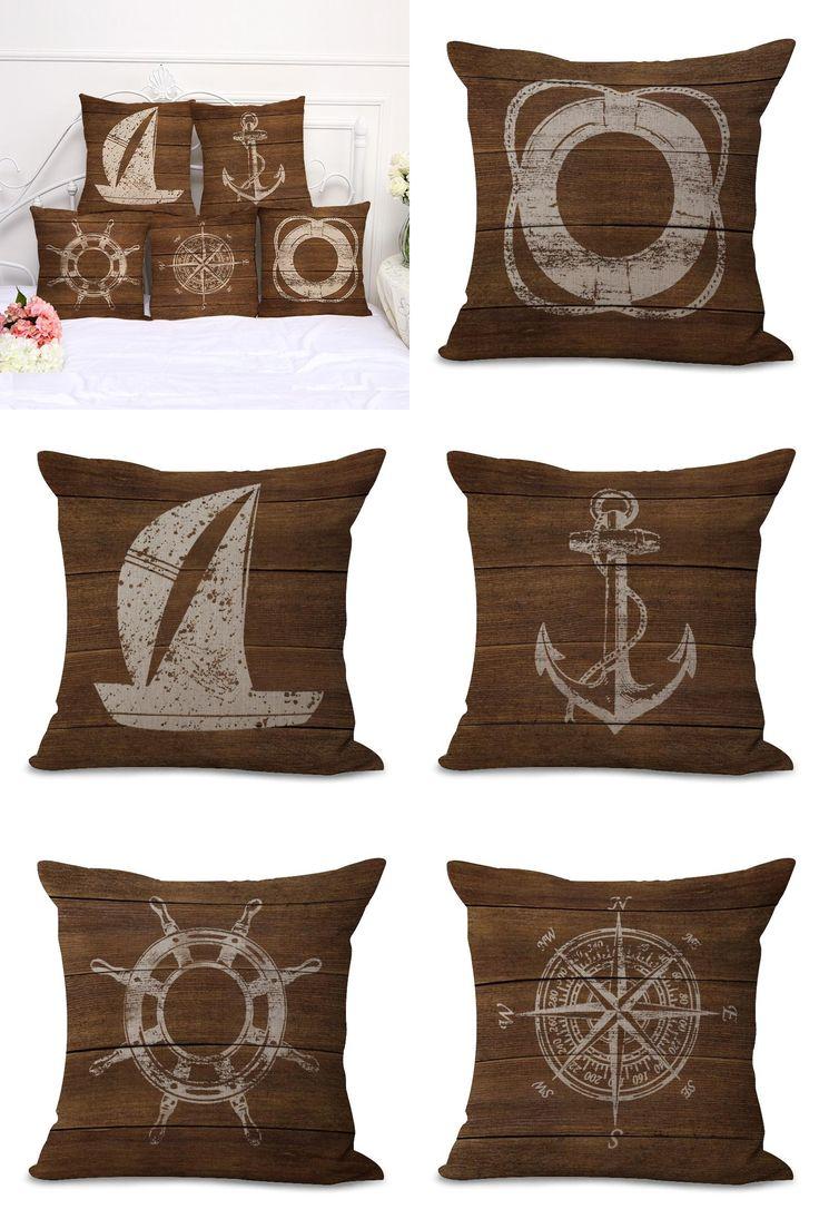 [Visit to Buy]  Retro Mediterranean Style Cushion Cover Anchor Boat ocean Marine Linen Throw Pillow Case 45x45cm Home Decorative Pillowcase #Advertisement