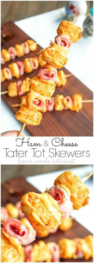 Ham and Cheese Tater Tot Skewers | If you are looking for a simple but totally awesome Game Day appetizer this game day recipe is it. Ham and Cheese Tater Tot Skewers are an easy appetizer recipe with layers of ham and tater tots skewered together and drizzled with creamy american cheese. This is going to be perfect food for your next super bowl party or football party!