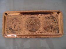 Antique Judaica Engraved Copper Tray Jewish Menorah Jerusalem Kotel Rabbi Shofar