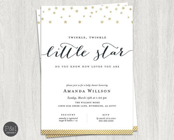 Gold Glitter Twinkle Twinkle Little Star Baby Shower Invitation/ DIY/ Customized Printable