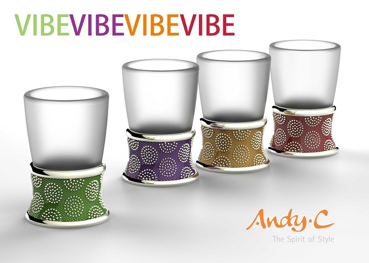 """VIBE VIBE VIBE VIBE - Introducing Andy C's NEW Funky """"Vibe"""" range. Made from a combination of Nickel alloy and Enamel. """"Simplicity is often the key to attractive design"""". This outcome is shown through merging a very simple pattern and a vibrant color textured background. These Shot glasses are available for order NOW! (pssst - and they are proudly South African)"""