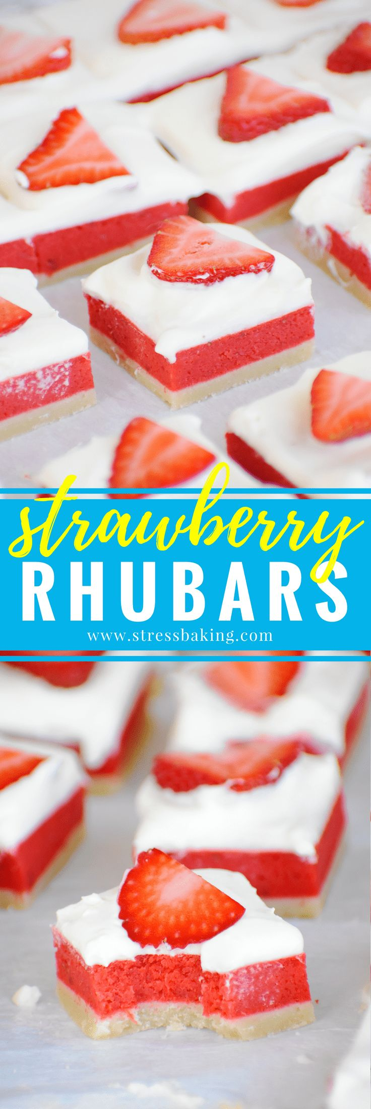 Strawberry Rhubars: These gorgeous three layer bars are a guaranteed crowd-pleaser! A lemon cream cheese base is topped with sweet strawberry and tart rhubarb, and it's all topped with fluffy whipped cream and fresh strawberry slices. | stressbaking.com #stressbaking @stressbaking #nationalstrawberryday #strawberries #strawberryseason