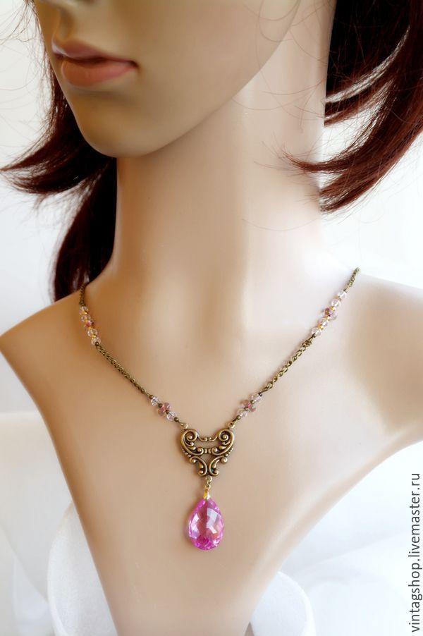 Купить ожерелье с подвеской розовый Топаз на цепочке авторское украшение - розовый, колье с топазом