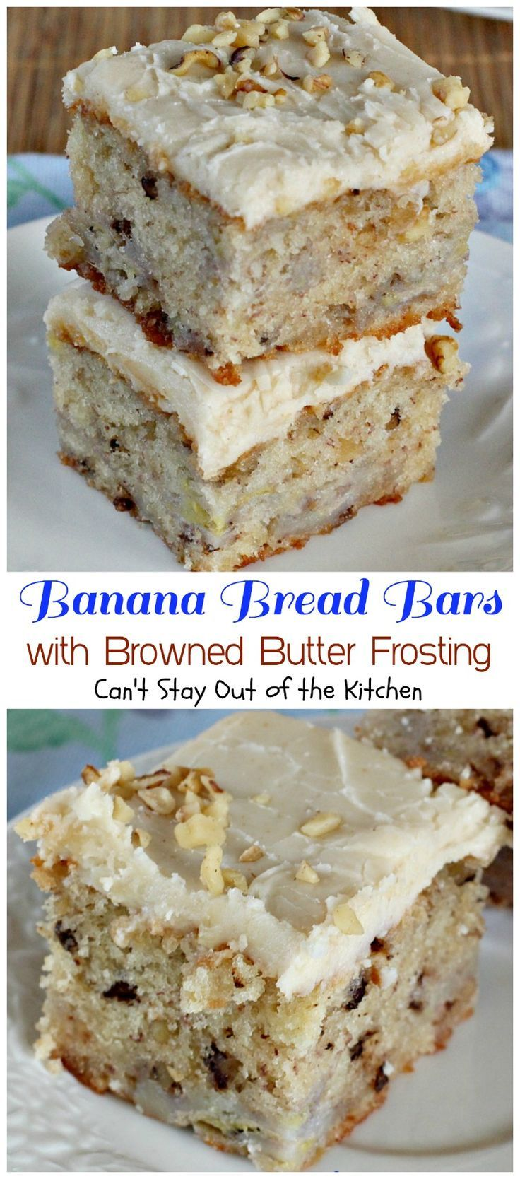 Banana Bread Bars with Browned Butter Frosting | Can't Stay Out of the Kitchen…