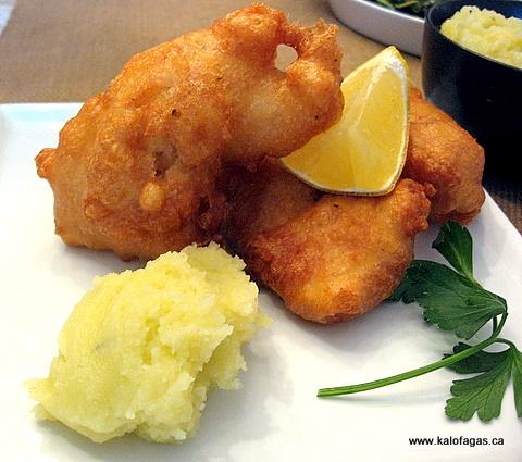 Fried Bakaliaros (salt cod) with Skordalia.