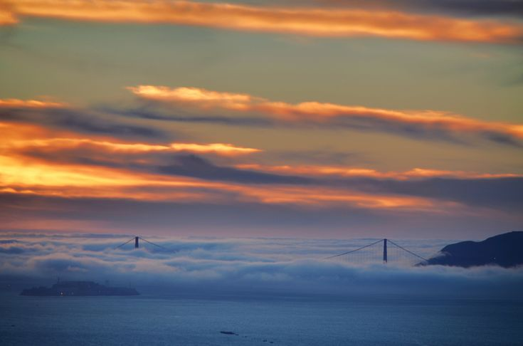 Fog:  And when it swaddles the bridge in a fluffy fog blanket at bedtime, all feels right in the world.