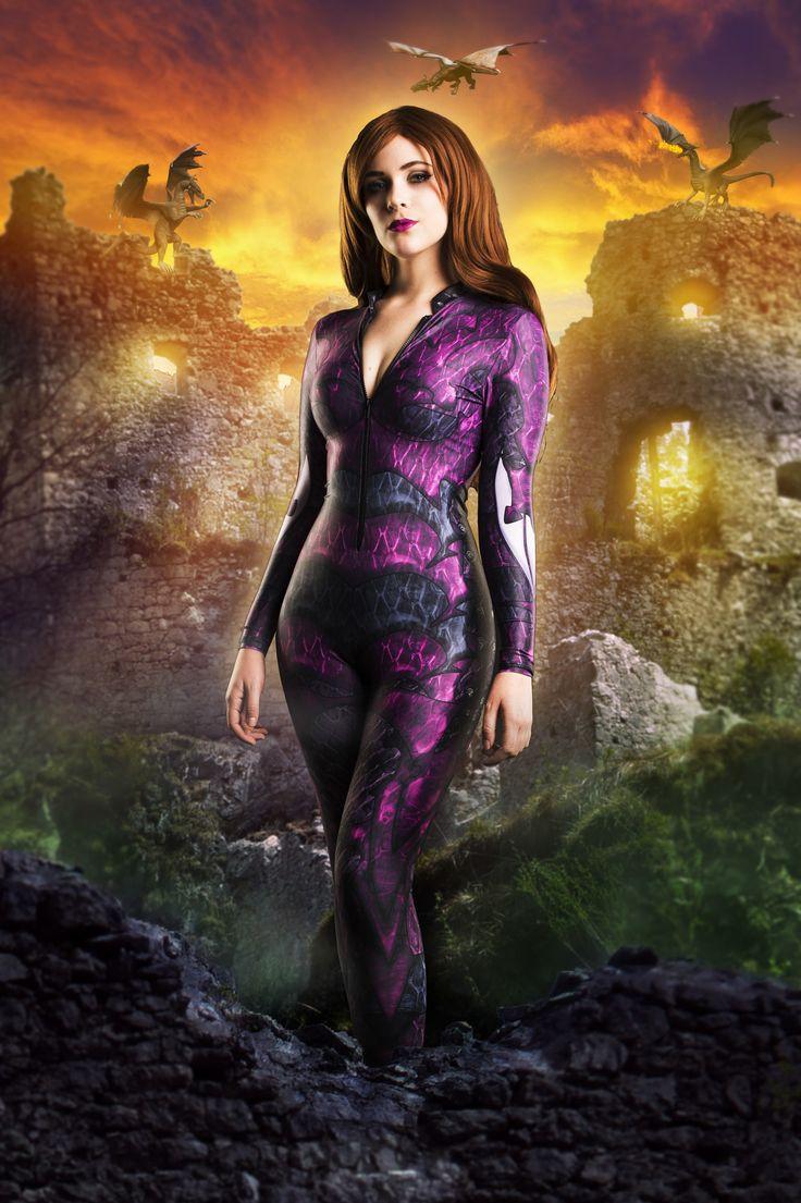 Dragon Queen Catsuit - Purple - $120AUD