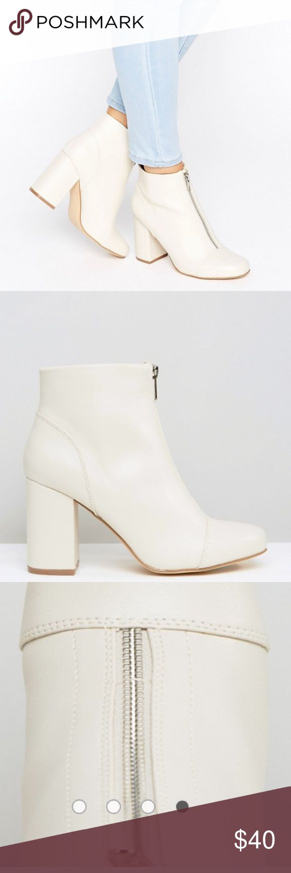 New Look Zip Front Leather Look Ankle Boot Brand new never worn size 9 ASOS Shoes Heeled Boots