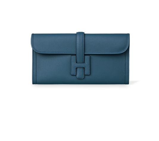 """Jigé Elan 29 Hermes clutch with H tab closure in Swift leather with goatskin lining Measures 11.5"""" x 6"""" x 1 """"$3,525"""