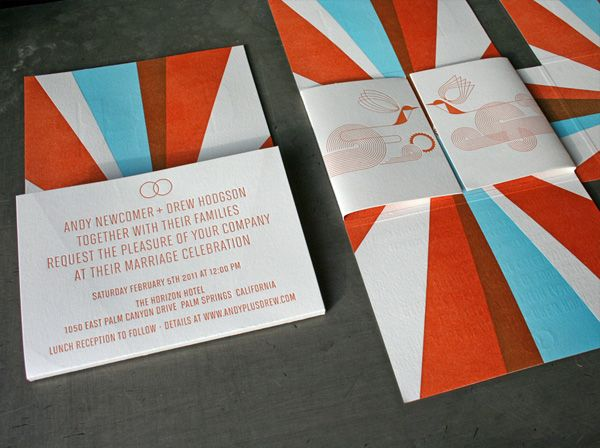 Mid-Century Modern Typographic Wedding Invitations- minus the blue