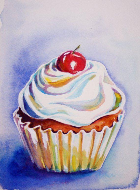 Cupcake Watercolor Painting ACEO art print by christydekoning, $5.00
