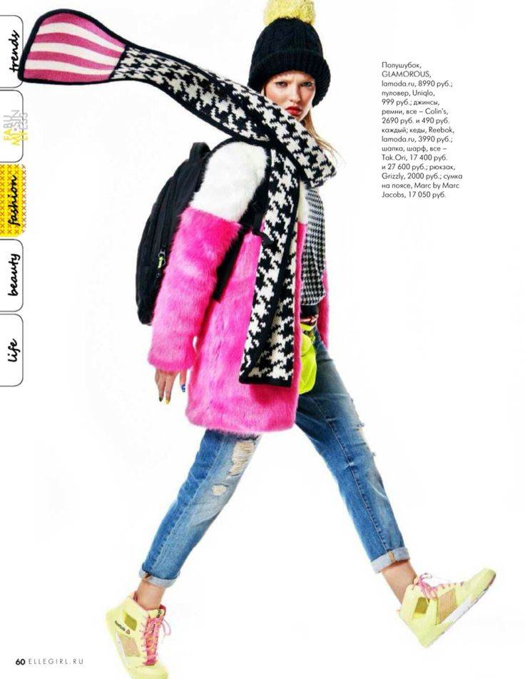 Tak.Ori Made in Italy houndstooth print scarf and beanie from FallWinter14 collection within Elle Girl Russia January Issue