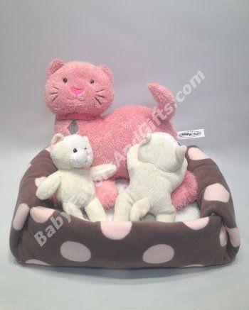 Kittens Litter Diaper Cake - Baby Girl Diaper Cakes - Great Gift for baby shower #kittens #babyshowergifts #diapercakes