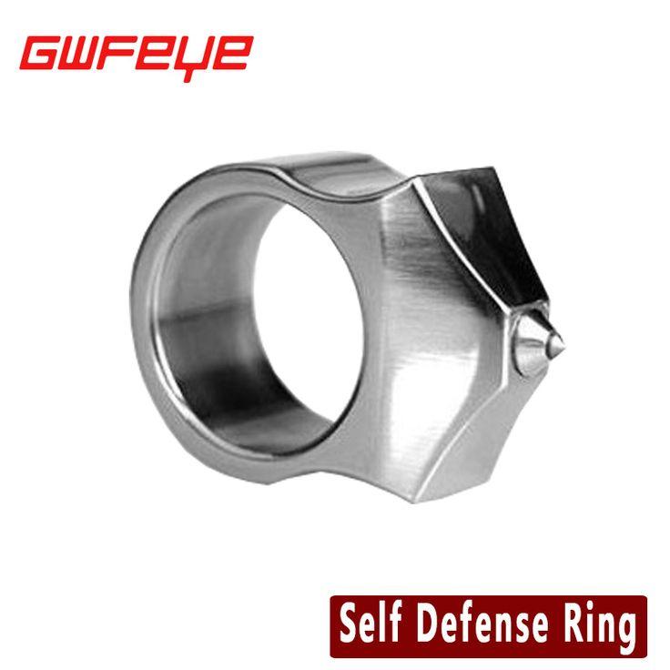 GWFEYE Rvs Zelfverdediging Levert Zelfverdediging Ring Vrouwen Mannen Veiligheid Survival Vinger Ring Met Ketting Tool EDC
