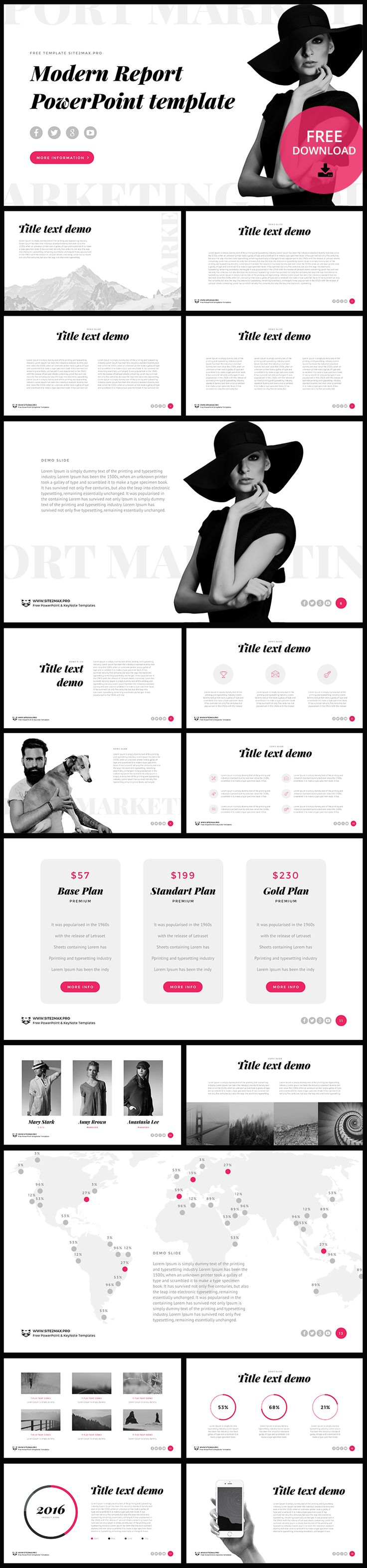 "Free PowerPoint template ""Modern Report"", DOWNLOAD LINK: http://site2max.pro/modern-report-free-ppt-template/ #ppt #pptx #powerpoint #modern #black #white #pink #report"