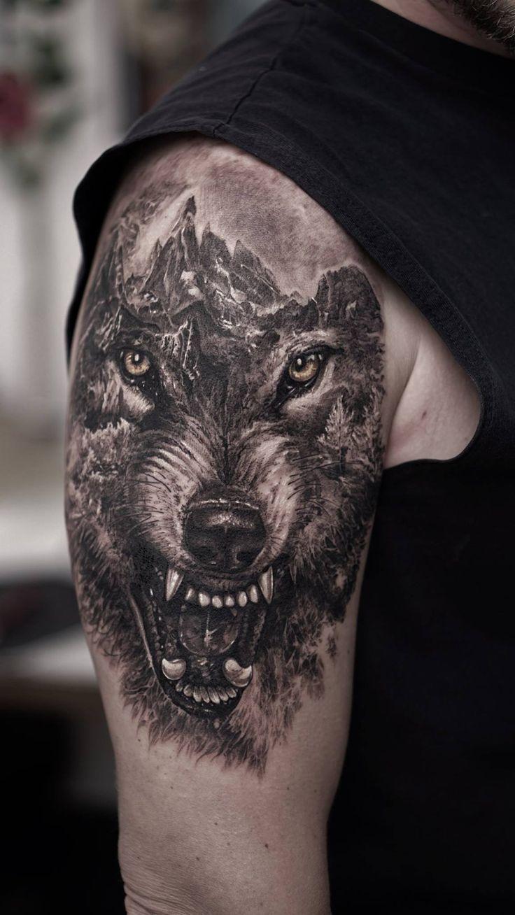 Картинки для тату волка на плече