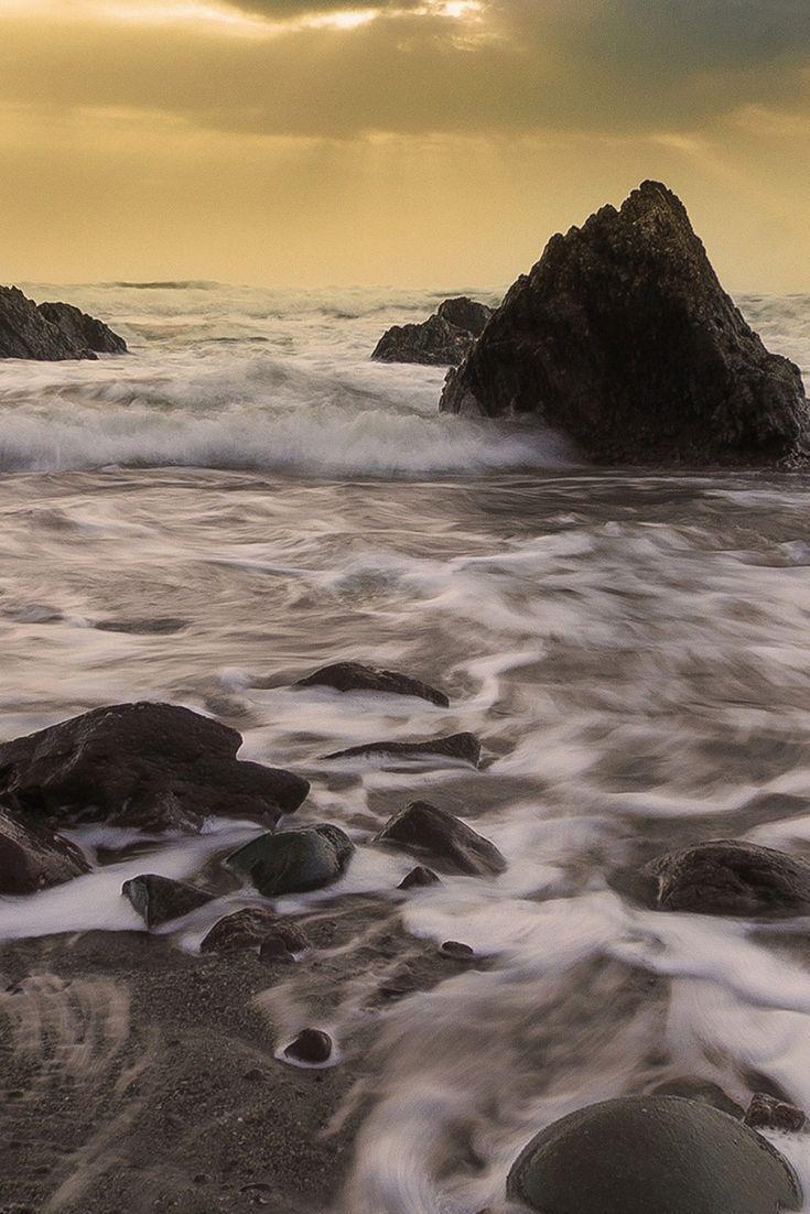 Foamy Sea At Sunset Sunset Wallpaper Waves Wallpaper Sunset