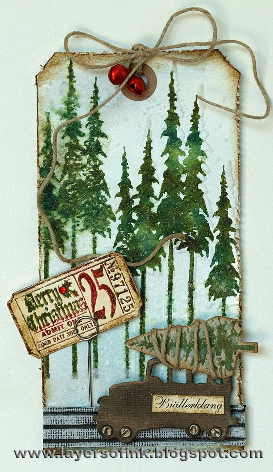 How cute!  Love the tree on top of the car!  Anna-Karin's tag from Layers of ink