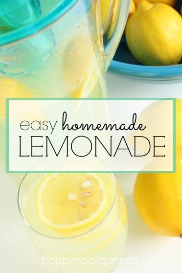 Easy fresh-squeezed lemonade recipe!  So simple and refreshing, we've been drinking it all summer long! - HAPPY HOOLIGANS