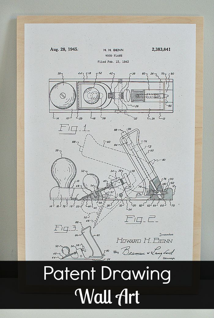 Patent drawings are free from the US Patent Office and make fun DIY wall art. Blog post includes free download of #woodworking tools. #patentdrawings #diywallart