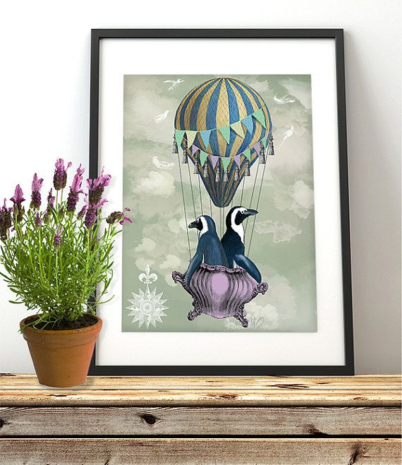 Penguin Picture The Flying Penguins Kids Room Wall Art Kids Room D Cor Home Decor Wall Decor Hot Air Balloon Print Whimsical D Cor