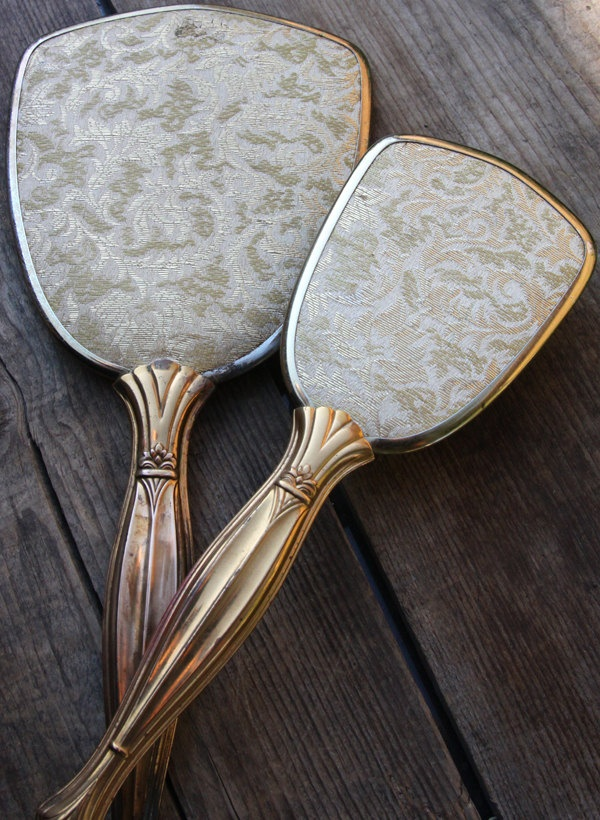 Vintage Hand Held Mirror And Brush Set Celluloid And Brass