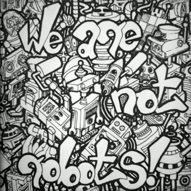 OldCanvasButMyFav!!! #shopp #doodle #robot #robots #wearenotrobots #drawing #marker #one4all #molotow #canvas #graffkodesign #society #automatized #subculture #doodleing #doodleart #art #me #amazing #instagood