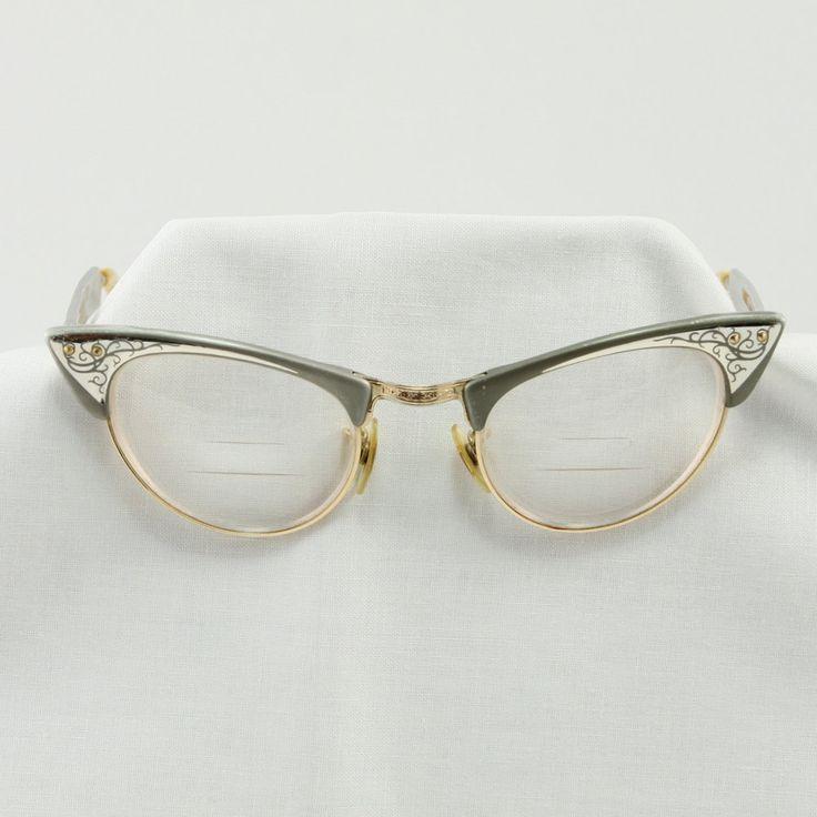Vintage Shuron Cats Eye 1950 s Aluminum Glasses Frames