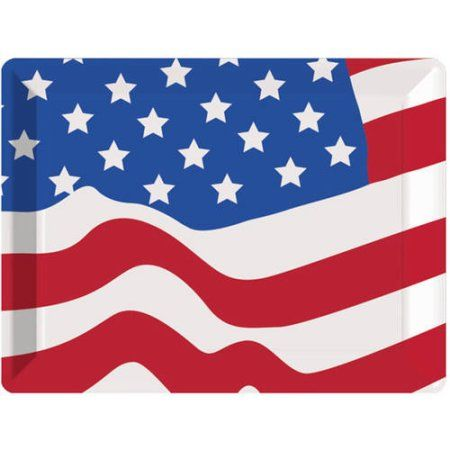 Flag 10 inch x 14 inch Plastic Serving Tray, Assorted