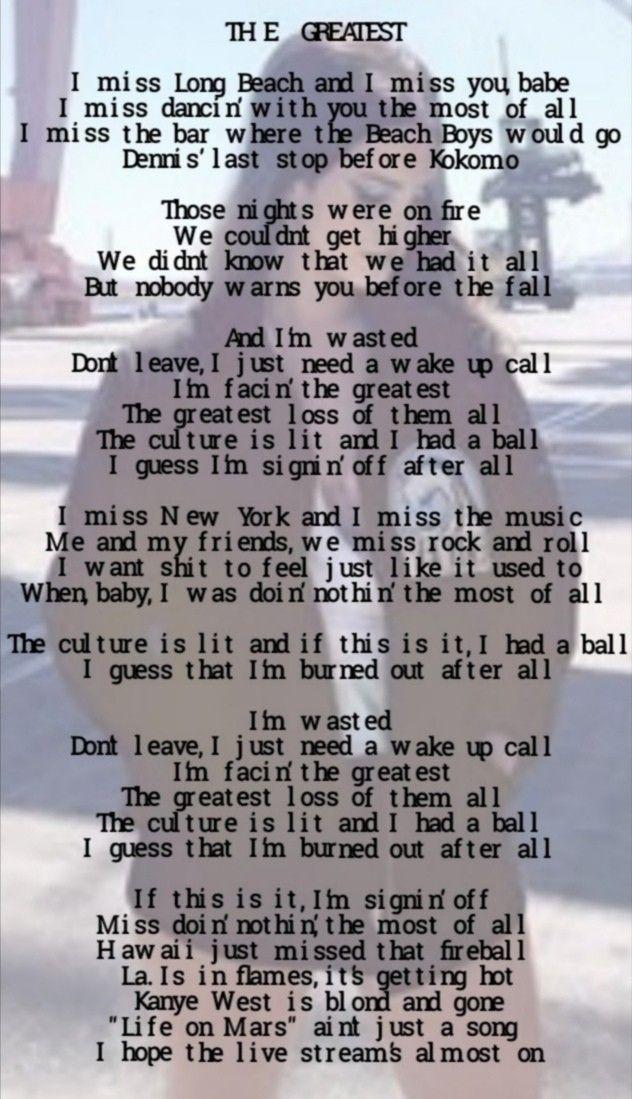 The Greatest Lyrics In 2020 Lana Del Rey Quotes Lana Del Rey Lyrics Lyrics
