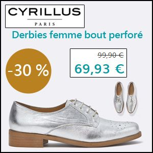 #missbonreduction; 30 % de remise sur les Derbies femme bout perforé chez Cyrillus. http://www.miss-bon-reduction.fr//details-bon-reduction-Cyrillus-i228-c1828951.html