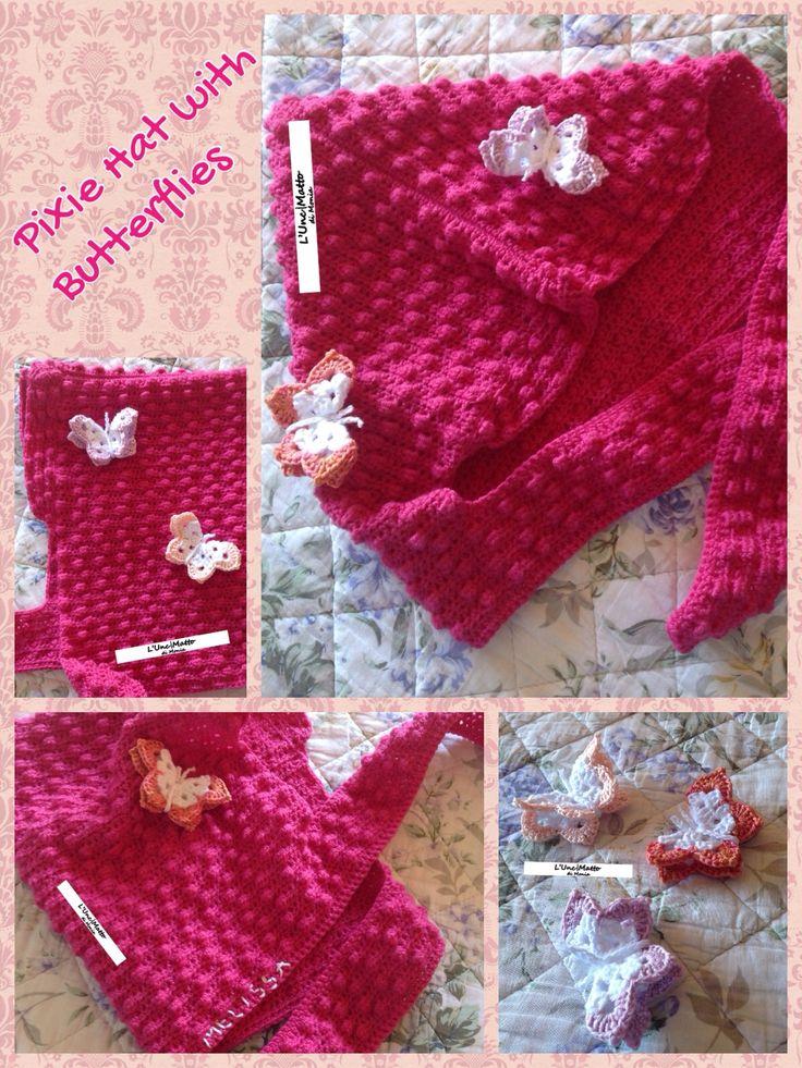 Pixie Hat with Butterflies Crochet Bobble Pink Wool Baby Merino UnciMatto