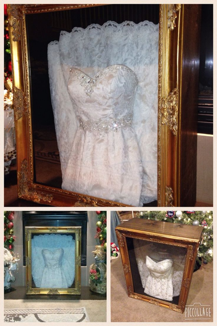 Wedding dress shadow box for under $150.  My wife and I built this using 1x12's 1/4 plywood, black felt and a Hobby Lobby frame.