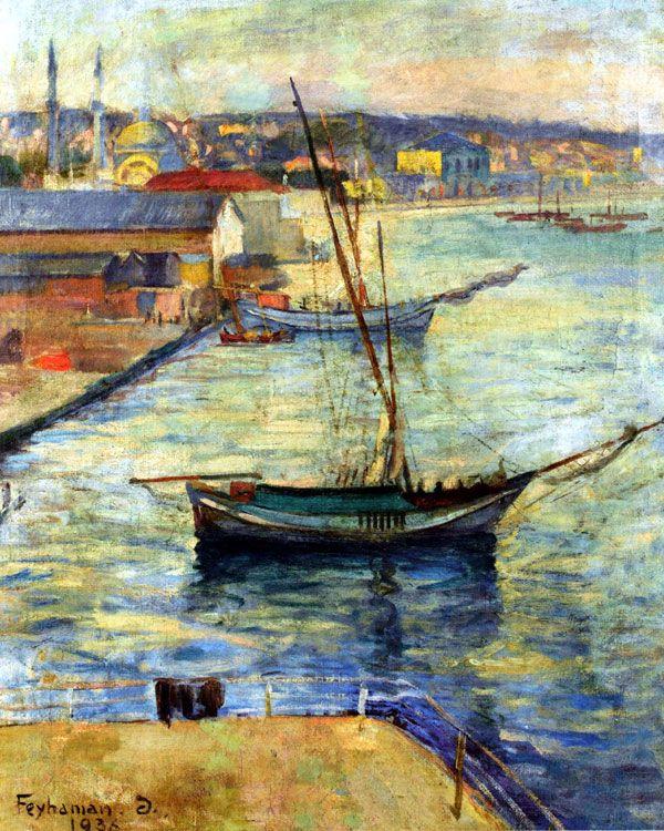 intro-1936 Feyhaman Duran , lise Galatasaray'da yetişmiş orada daha sonra kaligrafi öğretti. O atölye Cormon için özel bir burs ile Paris'e gitti. Döndükten Akademisi'nde ders verdi. O Türk İzlenimcilerinin üyeleri arasındadır. iskele Kabatach    tuval üzerine yağlıboya  89 x 74 cm - Sakıp Sabancı Müzesi Koleksiyonu