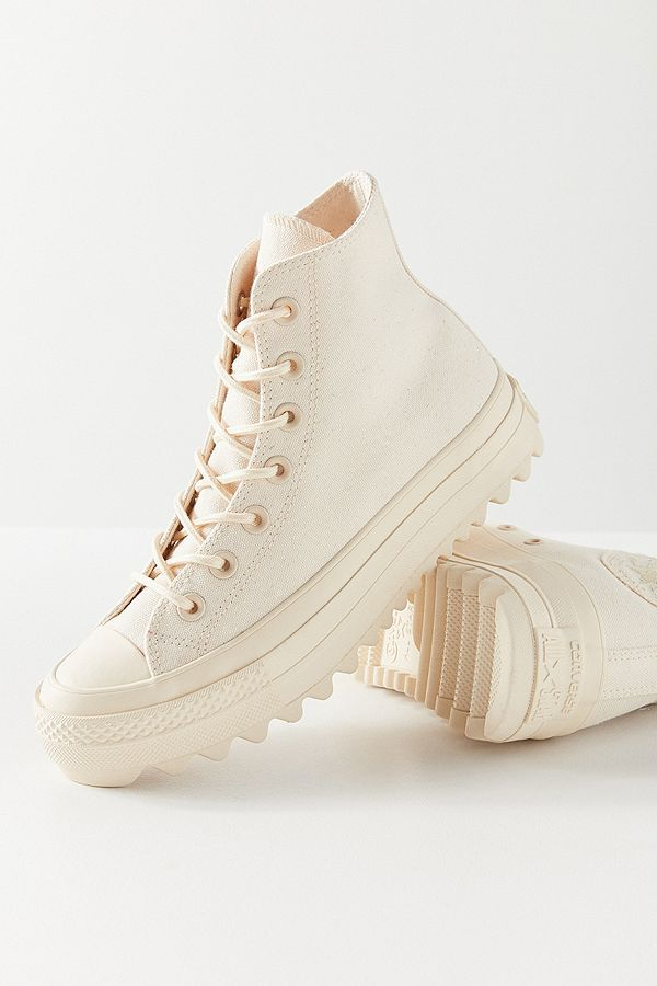 1de6b9155992 Slide View: 1: Converse Chuck Taylor All Star Lift Ripple Ivory High Top  Trainers