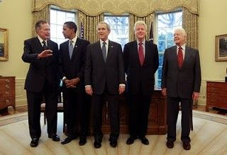 G-ESTEEM-PEOPLE WHO EDUCATED THEMSELVES  EVOLVED INTO THE MOST HAPPY AMERICANS (PEOPLE) USUALLY RED NECKS  PRO-BLACKS (STAY BOW-LEGGED  THICK) 44-LIFE (For Freedom  Watch Out For G-Stinky Bad People) THE CONFIDENCE TO CHILL WITH YOU (G-ESTEEM). (Pic w/ President Obama  ex-Presidents George Bush Sr,George Bush,Bill Clinton  Jimmy Carter).