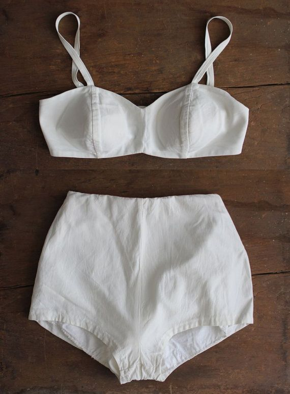 If I weren't quite so Oregon pasty. 1950s swimsuit / white 50s bikini / two piece by allencompany