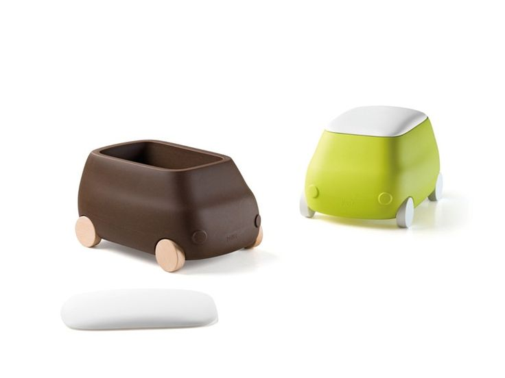 Plastic toy storage box with casters PLUST VAN by PLUST Collection by euro3plast design Michele Menescardi