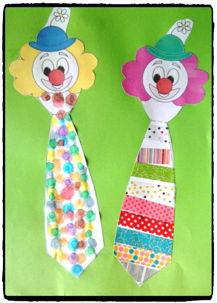 clown cravate, bricolage carnaval, cirque, enfant