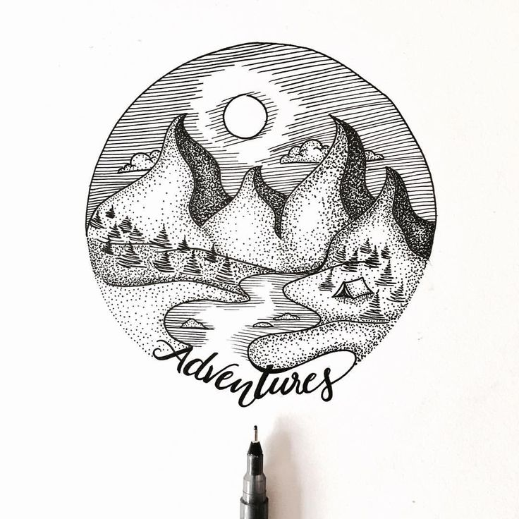 Dotted mountains illustration . . . #illu #illustration #mountain #mountains #design #designer #creative #art #drawing #sketch #dots #dotted #moon #adventure #ciruclar #photography