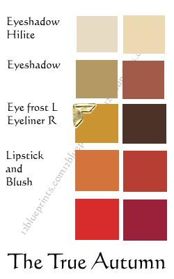 True Autumn makeup palette: warm gold, pumpkin, curry, etc. These are the colors i recommend when it comes to colors for autumn/ fall