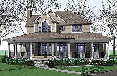 Plan 16805WG: Country Farmhouse with Wraparound Porch