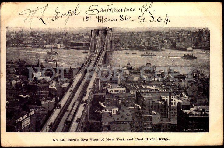 East River Bridge&NY Bird View, New York vintage original ca1900 postcard