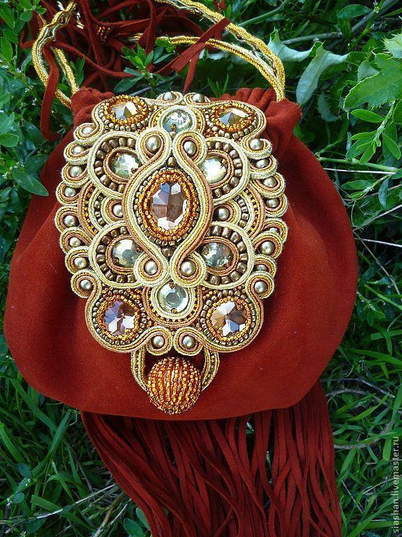 Купить Вечерняя сумочка в бохостиле - рыжий, однотонный, сумка ручной работы, сумка женская, бохо