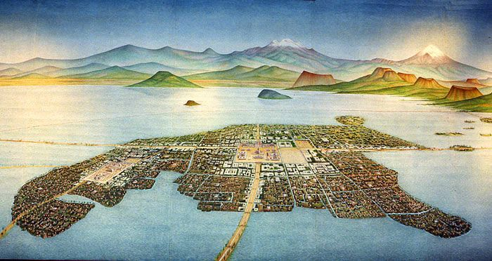 Painting of Tenochtitlan by Luis Covarrubias, National Museum of Anthropology, Mexico City