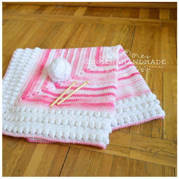 Pink crochet baby blanket  Crochet baby girl by GerberaHandmade