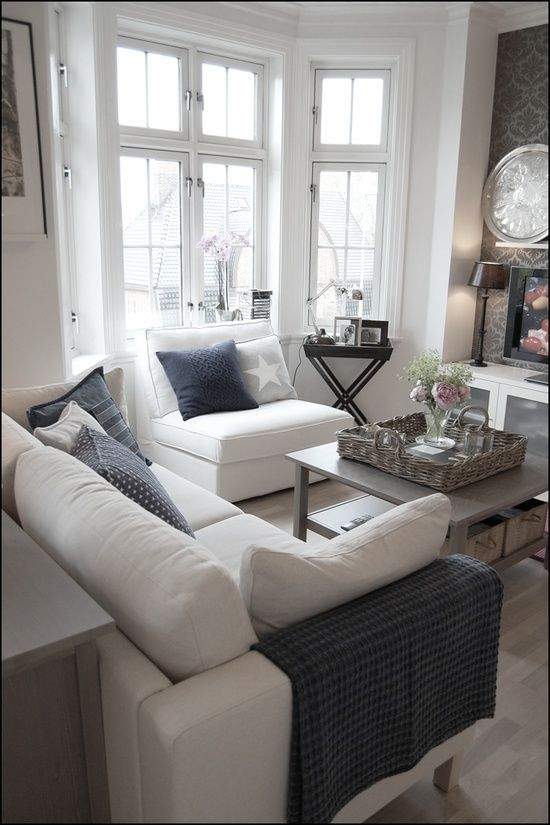 Lots of light and lots of white with nice grey accents Perfect Coastal Living RoomsSmall Living RoomsTraditional Living RoomsLiving Room IdeasLiving