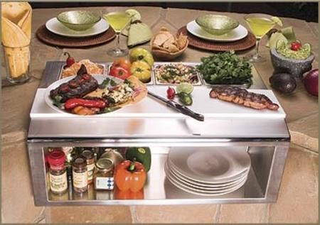 """APS-30P 30"""" Built-In Plating And Garnish Center With Food Pans All Commercial Stainless Steel Welded Construction Large Commercial-Style Poly Cutting Board and Recessed Shelf in Stainless Steel"""